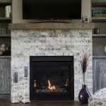 Brick Fireplace and Wooden Shelves