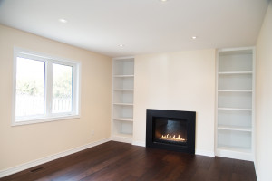 Fireplace and Built-In Shelves